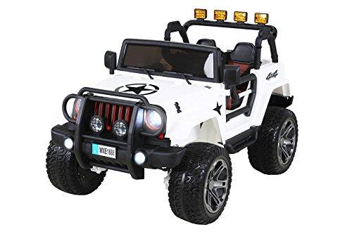 Actionbikes Motors Kinder Elektroauto Wrangler Offroad Jeep ALLRAD 2-Sitzer 4 x 35Watt 2x10AH Batterie Eva Reifen 4x4 (Weiß)