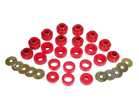 Prothane 1-105 Red Body Mount Bushing Kit for CJ5, CJ7, CJ8, YJ and TJ - 22 Piece by Prothane