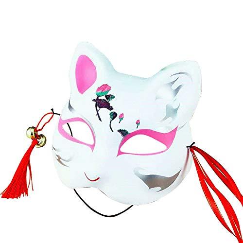me Fox Maske mit Quasten und Glöckchen obere Hälfte Gesicht bedeckt für Erwachsene und Kinder Maskeraden Festival Kostüm Party Show ()