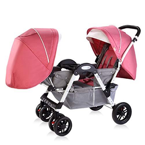 Babywagen Zwillinge Kinderwagen Falten Babys Neugeborenen Doppel Angesicht zu Angesicht Trolley Liegen Kann Sitzen und Falten Kinderwagen Kinderwagen (Color : Pink) (Doppel-kinderwagen Falten)