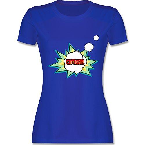... Rundhalsausschnitt für Damen Royalblau. Comic Shirts - OMG - Oh my god  Denkblase - tailliertes Premium T-Shirt mit