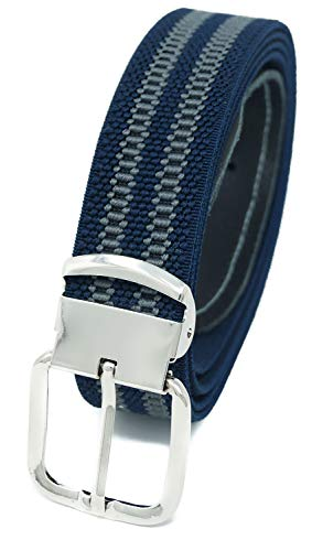 Elastik- Stoffgürtel von Xeira® - in trendigen Dunkel Blau/Grau Gestreift mit Grauen Leder ()