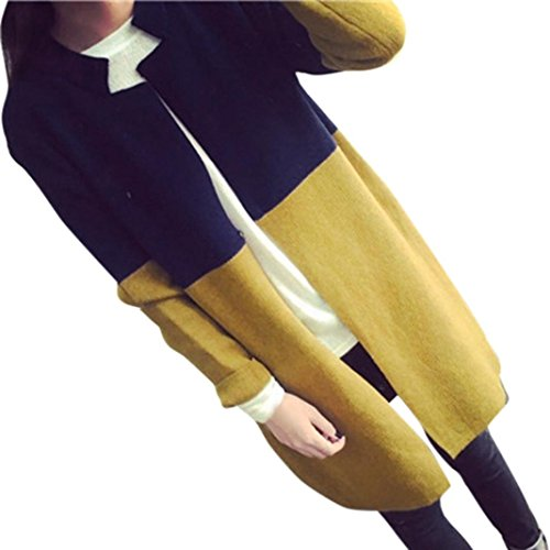 LuckyGirls ❤️• •❤️ Chaqueta larga de abrigo de invierno para mujer invierno cálido prendas de punto cárdigans tamaño gratis (Amarillo)