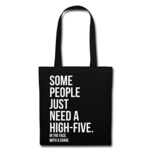 Spreadshirt Some People Need A High-Five Tote Bag, noir