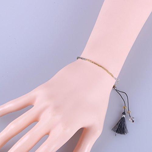 KELITCH Handmade Armband Kristall Perlen Schnur Freundschaftsarmbänder mit farbig Quaste Anhänger - #21