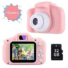 TekHome Kinderkamera mit Spiele ab 3 Jahre | Bestseller 2019 Kinderkamera Pink Mädchen 4 5 6 Jahre | 12MP 1080P Farbdisplay & 32GB SD Karte | Fotoapparat Digitalkamera Rosa | Baby Geschenk 7 8 Jahre.