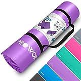Proworks Große Premium Yogamatte Gepolstert & rutschfest für Fitness Pilates & Gymnastik mit Tragegurt in Lila - [Maße 183cm Länge 60cm Breite] - Phtalatfrei