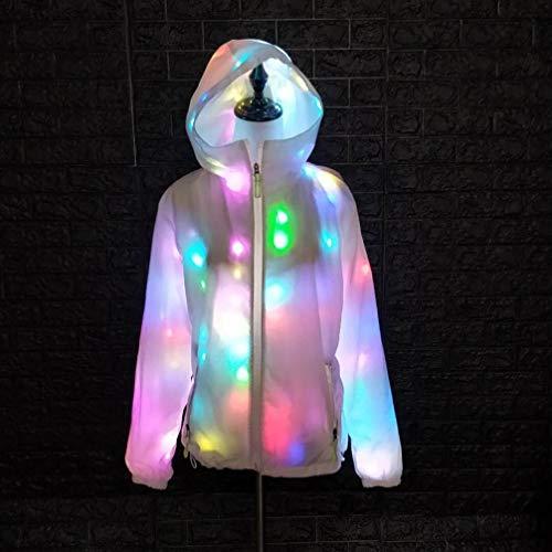 AoTin Damen/Männer LED Leichter Mantel Bunte Leuchtende Halloween-Jacke Weißer Mantel Party Kapuzen-Freizeitoberteil Festkleidung, L