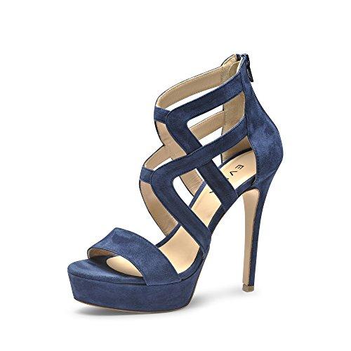 Evita Shoes Luna Damen Sandalette Rauleder Blau