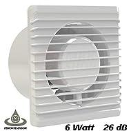 Ventilatore da bagno, diametro 100 mm, con sensore di umidità, igrostato, timer a cascata e valvola anti-ritorno MKK-PLANET, da bagno e da cucina, silenzioso, 10 cm, bianco