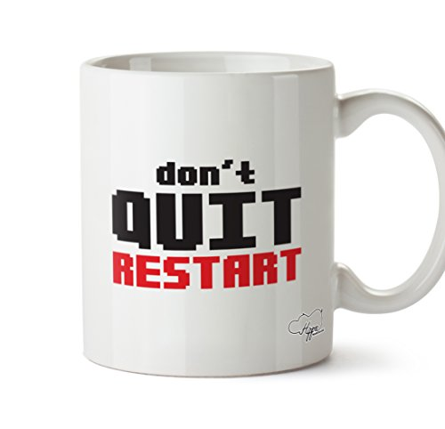 hippowarehouse Don 't Quit Restart 283,5Tasse, keramik, weiß, One Size (10oz) (Language Converter)