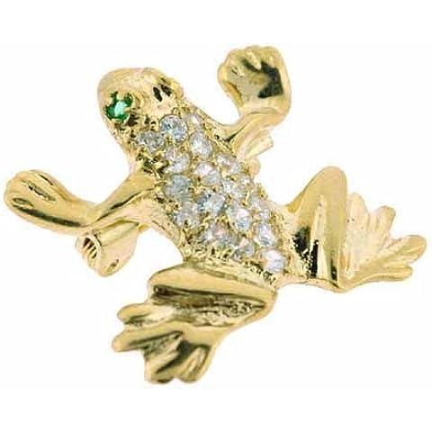 Oro, argento Sterling, colore: verde scuro e zirconia cubica, a forma di rana & Leaping Pin - Gioielli Della Rana Pin