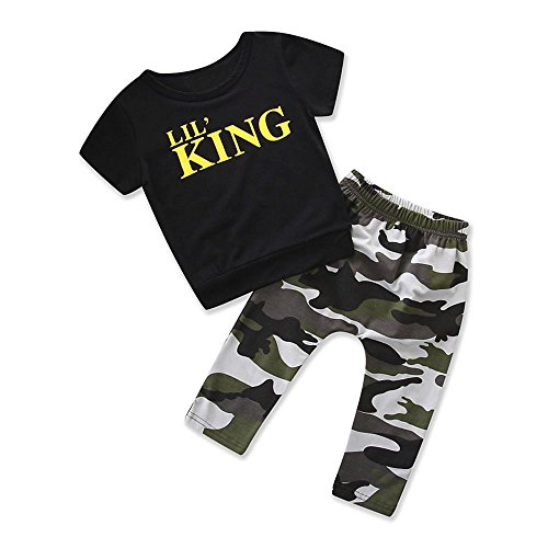 Vovotrade® 2 PC Toddler Enfants Kids Baby Boy Bébé Garçon Lettre T-shirt Tops + Camouflage Pantalon Tenues Vêtements Ensemble (Black -SHORT, 2T)