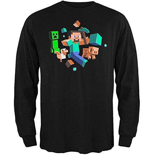 Minecraft Big Boys' 8-20 Run Away! Glow In The Dark Youth Long Sleeve T-Shirt(XXX-Large) (Glow Youth-t-shirt)