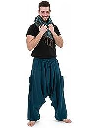 - Pantalon sarwal zen Nepal homme femme coton leger bleu petrole -