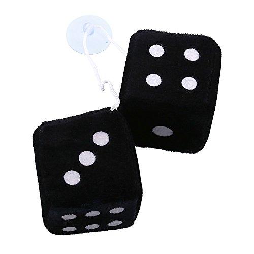 Sedeta® Paar Schwarz Fuzzy Dice Dots Rückspiegel Aufhänger Oldtimer-Zubehör