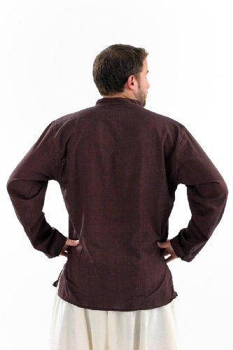 - Chemise coton nepalais 3 boutons 1 poche - Marron