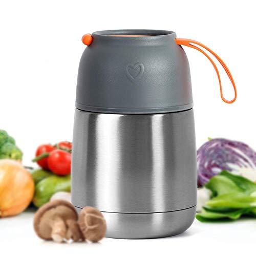 MUHOO Thermobehälter Speisebehälter Lunchbox Edelstahl Isolierbehälter Speisebehälter Speisegefäß BPA freier Essensbehälter für Essen und Flüssigkeiten 450ml