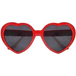 SODIAL(R) Gafas de Sol Forma de Corazon para Fiesta de Disfraces - Rojo