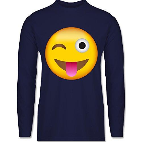 Comic Shirts - Emoji Herausgestreckte Zunge - Herren Langarmshirt Navy Blau
