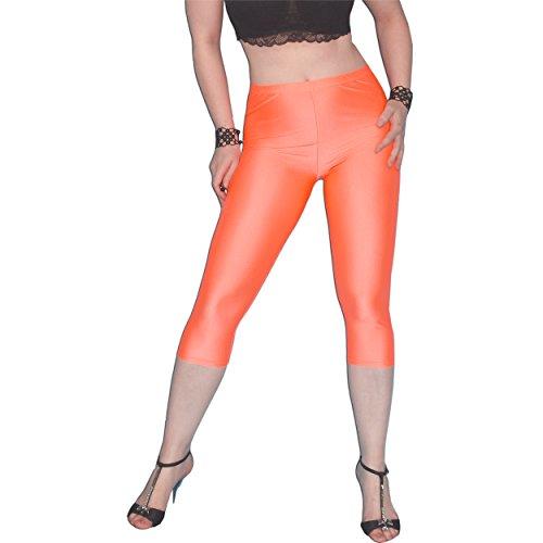 CAPRI Spandex LEGGINS glänzend in 6 verschiedenen Farben* Gr. S oder M * 80er Leggings (dunkel-orange, M)