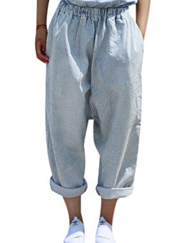 Youlee donna vita elastica gamba larga pantaloni a strisce jeans