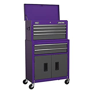 Sealey AP2200BBCP Topchest & Rollcab Combination 6 Drawer with Ball Bearing Slides - Purple/Grey