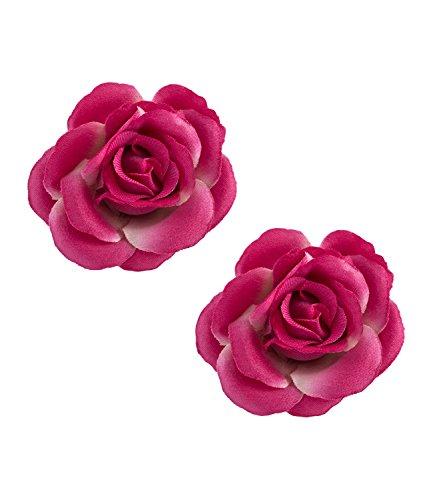 SIX Blumen Haarschmuck, 2er Set Blumen Haarspangen, pinke Textil Rosenblüten (24-684)