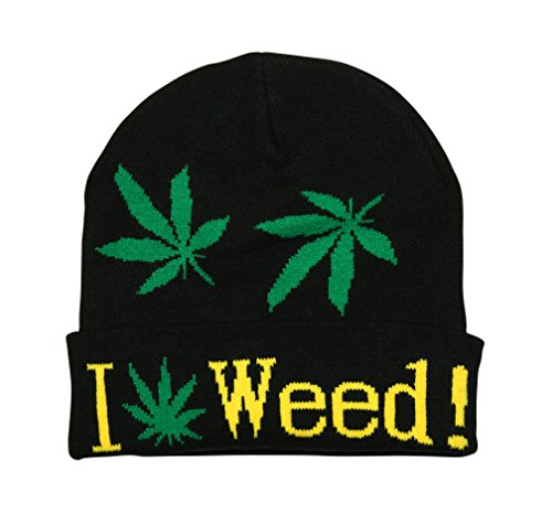 UD Accessories Turn Up Bonnet I Love Weed Ganja Leaf Noir/Vert/Blanc/Jaune - Noir - Taille Unique