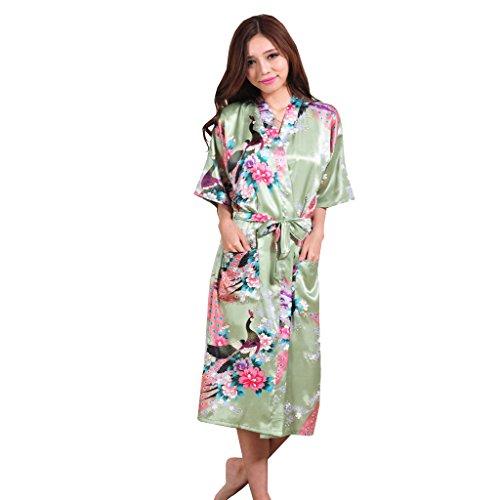 Honeystore Damen lange Kimonos für Damen Bademantel aus Satin mit Pfau und Blüten Morgenmantel Robe Schlafanzug Erbse Grün XXL (Gesteppte Satin-robe)
