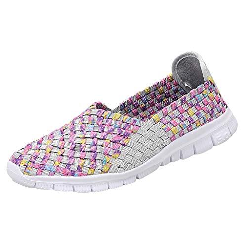 r Sandalen Bohemian Flach Sandaletten Sommer Strand Schuhe,Art- und Weisefrauen-Ebenen-Strand-Schuhe gesponnene Breathable Schuh-beiläufige laufende Schuhe ()