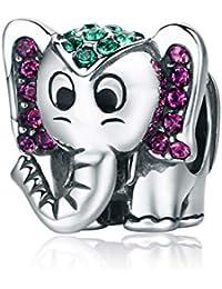 Borong Abalorios Charms para Mujer, Niña Regalo de Joyas, Compatible con Pulseras Pandora y Europeas Collar con Chapado en Plata