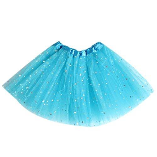 Bekleidung Longra Baby Kinder Mädchen Prinzessin Sterne Pailletten Party tanzen Ballett Tutu Röcke Mädchen Kleider (2-7 Jahre) (free size (2-7 Jahre), Light (Star Kostüme Jacke Rock)