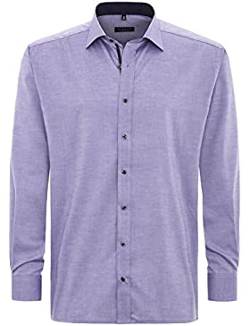 ETERNA Herren Langarm Hemd Comfort Fit Classic-Kent lila strukturiert mit Patch 8102.93.E36R