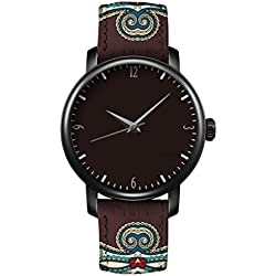 iCreat Women Quartz Watches Clear Time Leather Strap Black Dial Black Case Design With Aztec National Patterns And Elegant