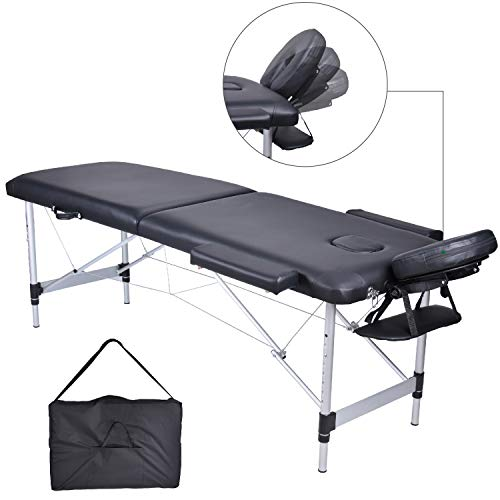 HB Club Deluxe 2 Zonen Aluminium Massagetisch Massageliege Massagebank Tragbar Klappbar Professionell Massage Bett Höhenverstellbar mit Verstellbarer Kopfstütze, Armlehne, Tragetasche, 14kg (Schwarz) -