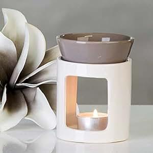 Duftlampe Aromabrenner DUO aus Keramik · weiß/grau Höhe 11 cm · Ø 8,5 cm 26998