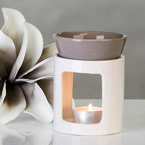 Duftlampe Aromabrenner DUO aus Keramik · weiß/grau Höhe 11 cm · Ø 8,5 cm