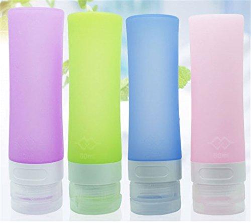 Cftrum set di 4x 80ml bottigliette in silicone per viaggiare in aereo, approvate dalla tsa, comprimibili e riempibili, per shampoo, balsamo, lozioni