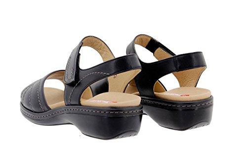 PieSanto Chaussure Femme Confort en Cuir 1801 Sandales à Semelle Amovible Confortables Amples Noir