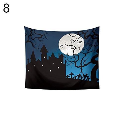Bangle009 Halloween-Wandteppich, Zombie-Grabmotiv, Fliegender Fledermaus 8#