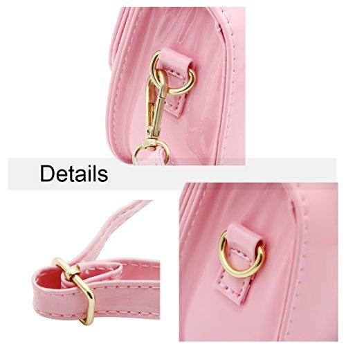 Scheppend moda bambina borsetta Borse bambini monospalla borsa duplice scopo laccate borsa in pelle Rosy Rosa