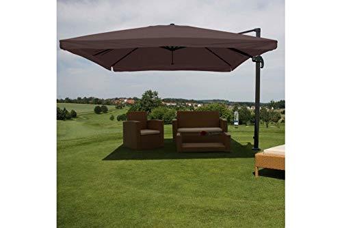 Schirm Sonnenschirm braun Alu 4,3m Gastro Ampelschirm Luxus Marktschirm drehbar
