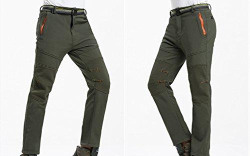 YiLianDa Donna Softshell Pantaloni da Montagna Pantaloni da Trekking Impermeabili Elasticizzati da Escursione Outdoor Autunno Inverno Verde(Uomo)