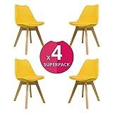 KunstDesign Nordic Chair (Pack 4) - Skandinavischer Stuhl Gelb - Mona - (Wählen Sie Ihre Farbe)