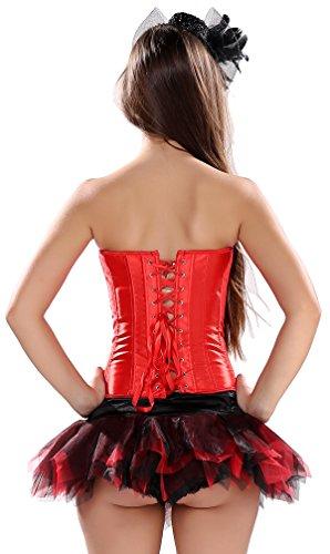 Kranchungel Damen Satin Corsagetop mit Mini Rock Tutu Korsett Gothic Partykleid Rot+Q2685