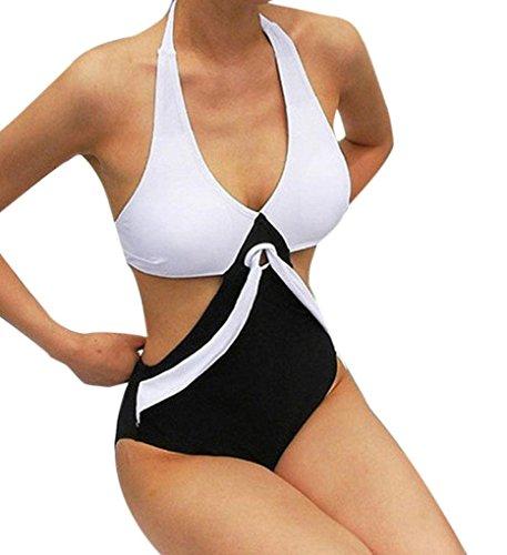 Xinan Bikini Set Damen Badeanzug Bademoden Einteilig Push up Bikini Patchwork Baeachwear (XL, Schwarz Sexy)