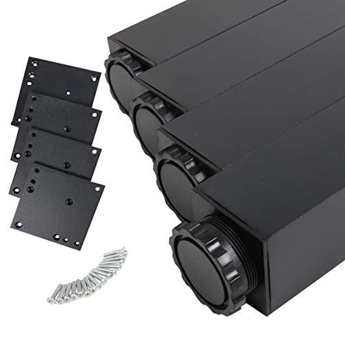 MS Beschläge® 4er Set Tischbeine Möbelfüsse Eckig 60mm x 60mm in diverse Farben Höhe 710mm (Schwarz)