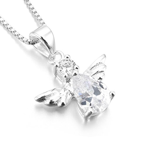 MunkiMix 925 Sterling Silber Anhänger Halskette CZ Zirkon Zirkonia Engel Flügel Engelsflügel Kruzifix Kreuz Elegant Damen mit 46cm Sterling Silber Kette