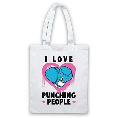 I Love Punching People Boxing Slogan Umhangetaschen Weis
